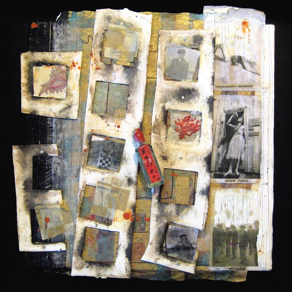Proper Station-Collection of the Artist encaustic, collage & found objects, 15x15x3""