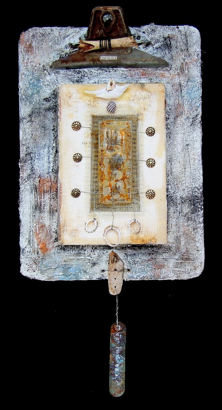 To the Sea-Collection of the Artist encaustic, clipboard, book & found objects, 9x19x3""