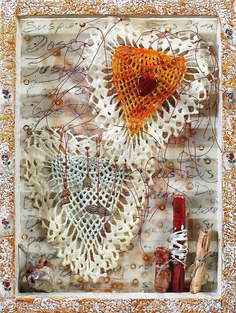 Dos Corazones Suspendidos-Collection of the Artist encaustic, wood, fabric & objects, 12x16x3""