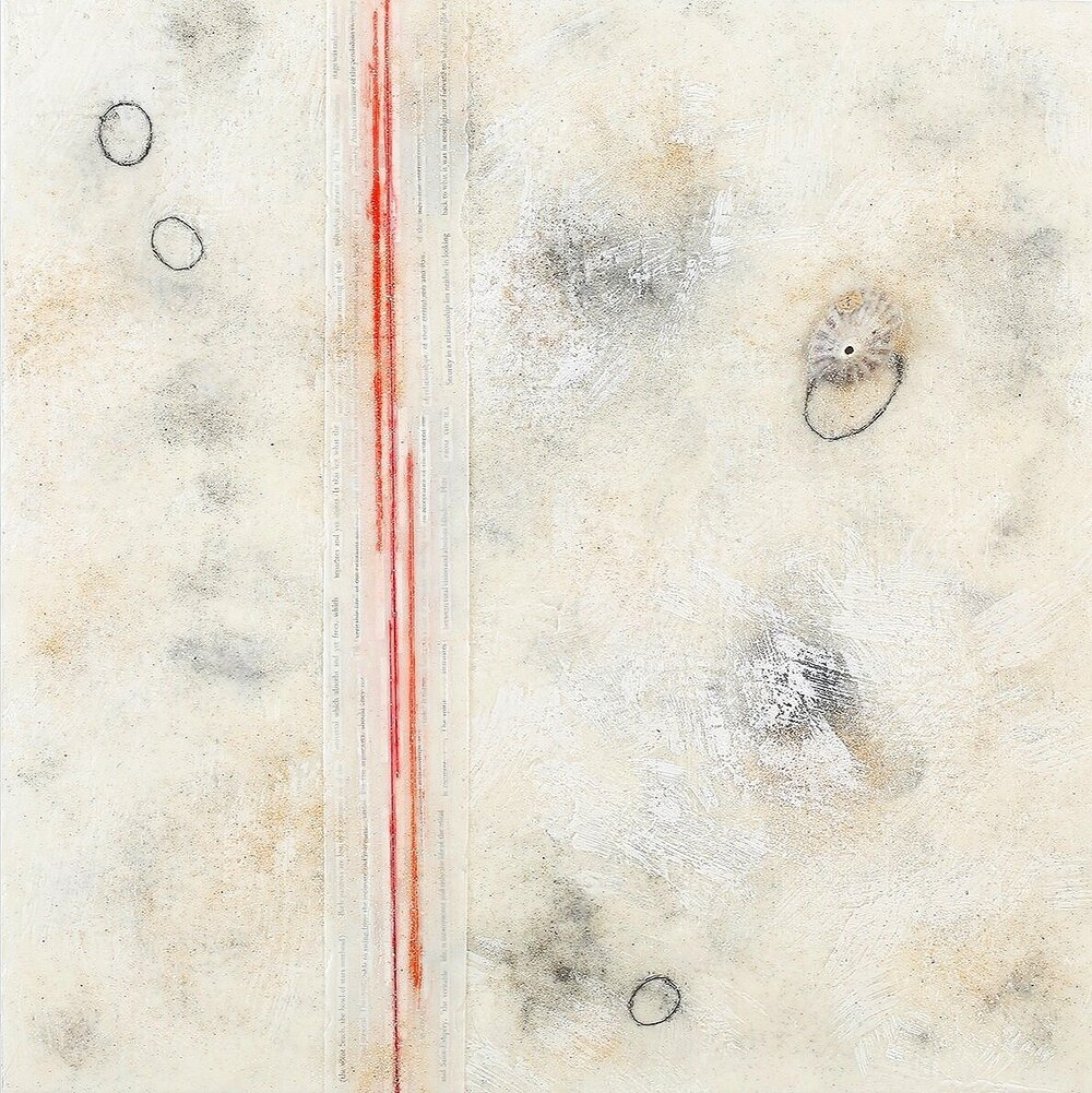 Lines in the Sand 2 encaustic, mixed media & shells, 30x30""