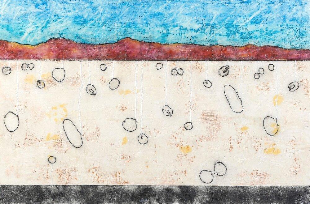 "Refuge 2 encaustic, mixed media & sand, 30x20"""