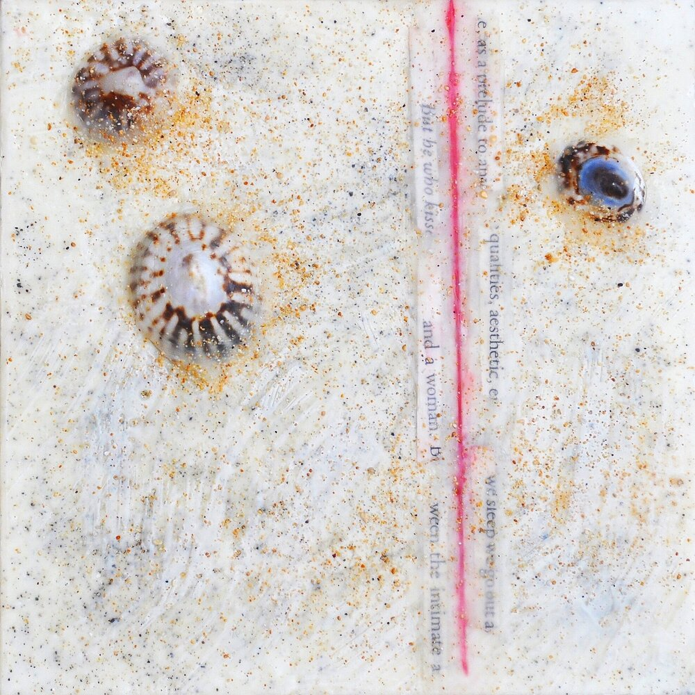 Line in the Sand 1 encaustic, ink, shells & sand, 6x6""