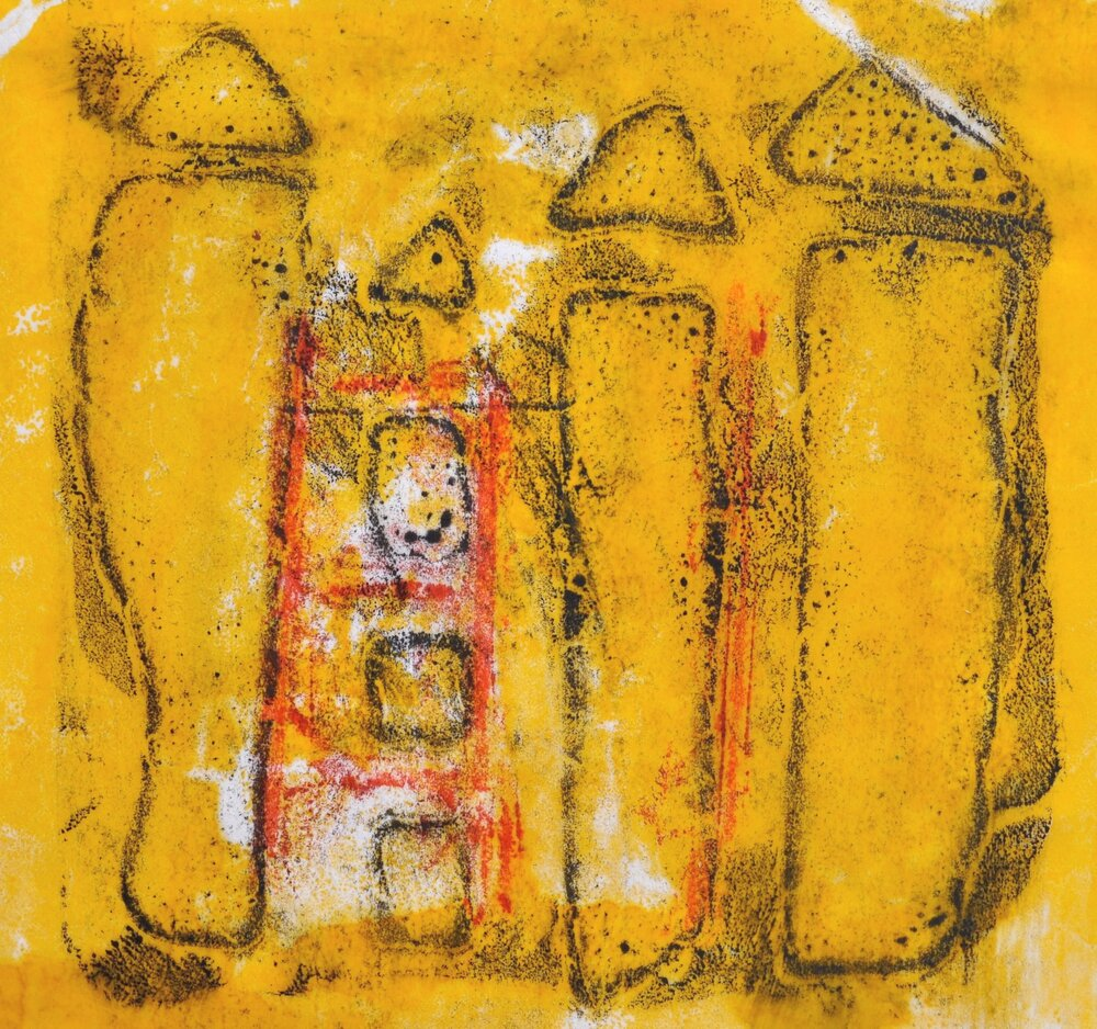 Tres Casa Amarillas encaustic, monotype & mixed media on paper, 8.5x8.5""