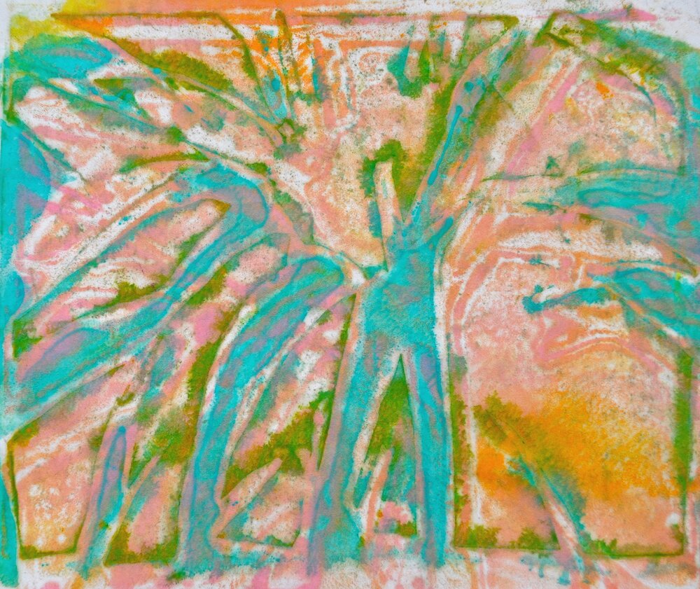 Grass 3 encaustic, monotype & mixed media on paper, 10x8""