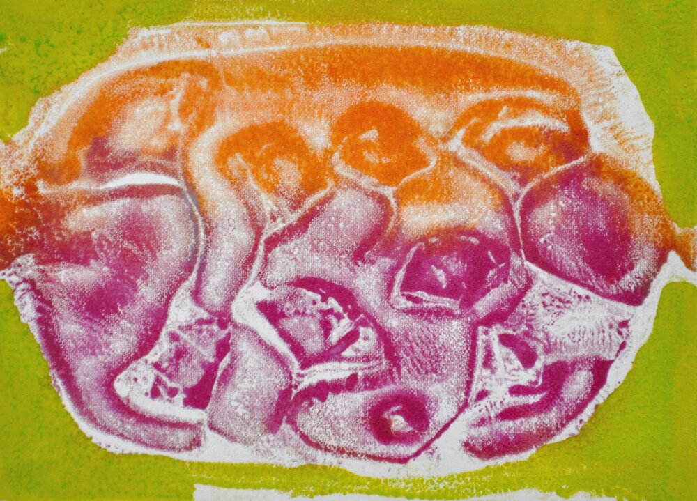 In Utero encaustic & monotype on paper, 6.5x5.5""