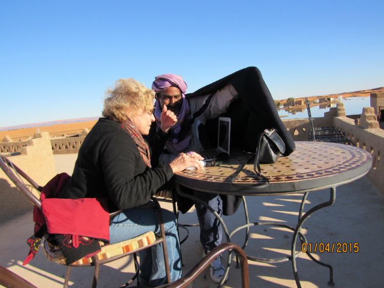 Impromptu Workshops can happen at anytime - Even in the Sahara Desert!   Valerie Porr is teaching the neurobiology of BPD in the Sahara Desert.