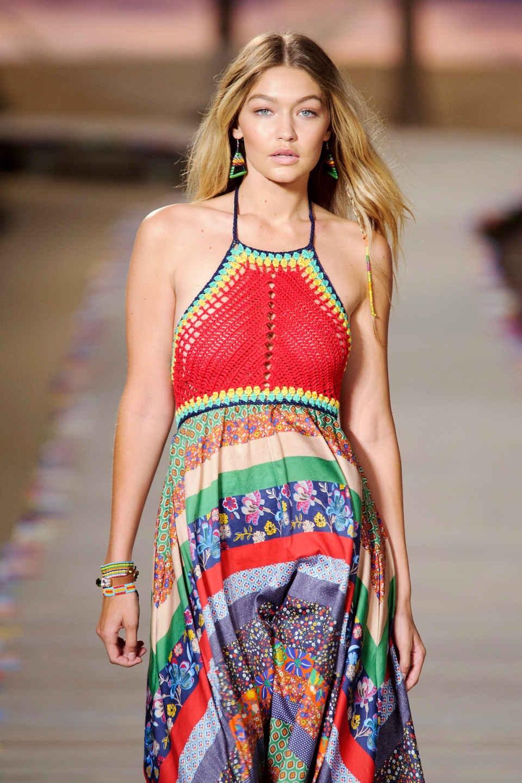 Gigi Hadid at the Spring 2016 Tommy Hilfiger runway show. Photo: Imaxtree via Fashionista