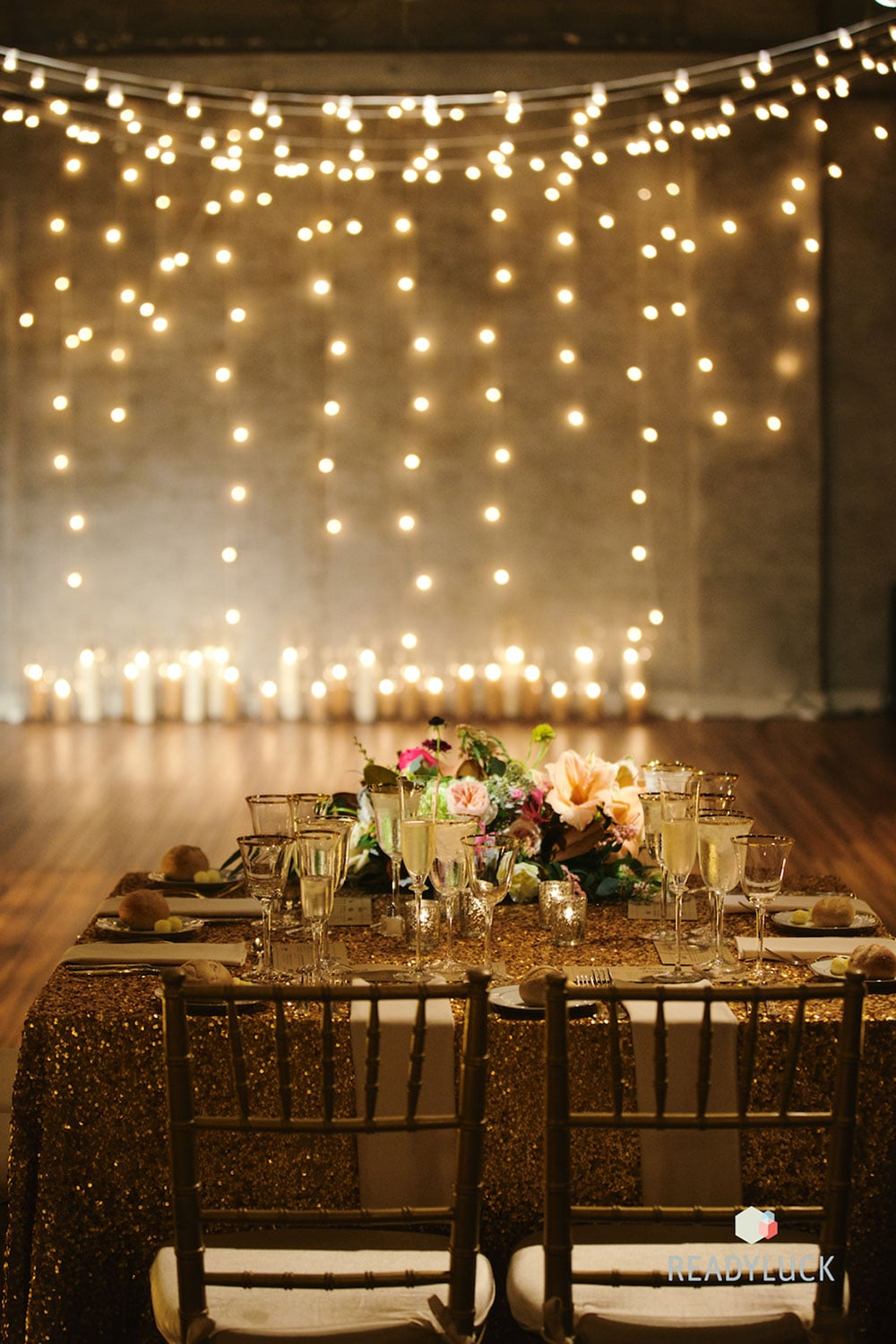 Gold sequin linen | Industrial warehouse wedding in Fishtown Philadelphia at Front & Palmer | Wedding planner & wedding design: Heart & Dash | Photo: Readyluck | Flowers: Vault + Vine