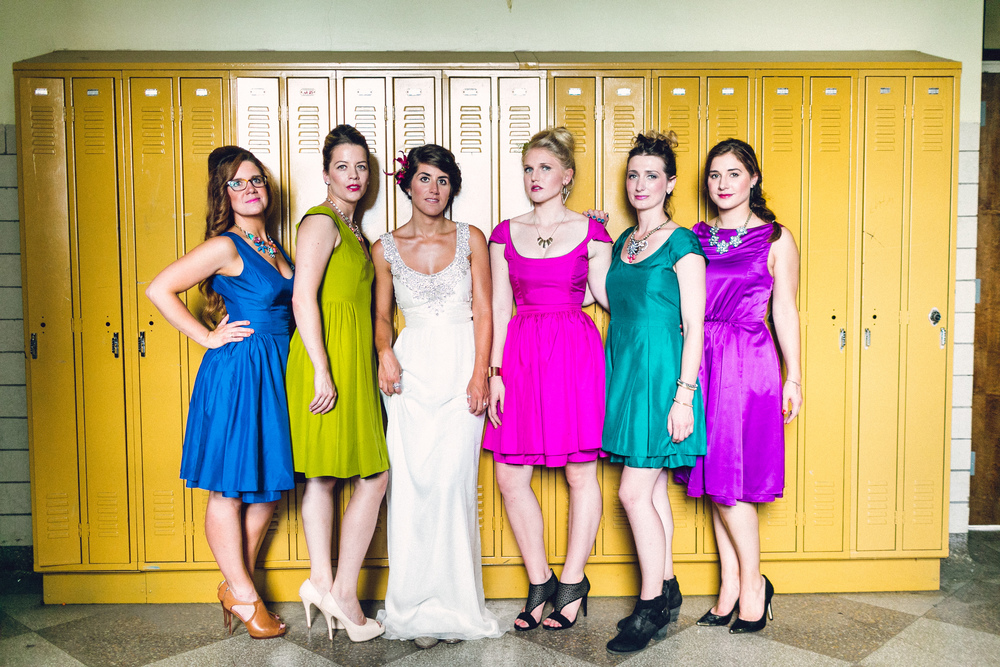 South Philly Wedding at Old School, Bok Building :: Heart & Dash :: Danfredo Photo + Film :: Durga Kali colorful reversible bridesmaid dresses