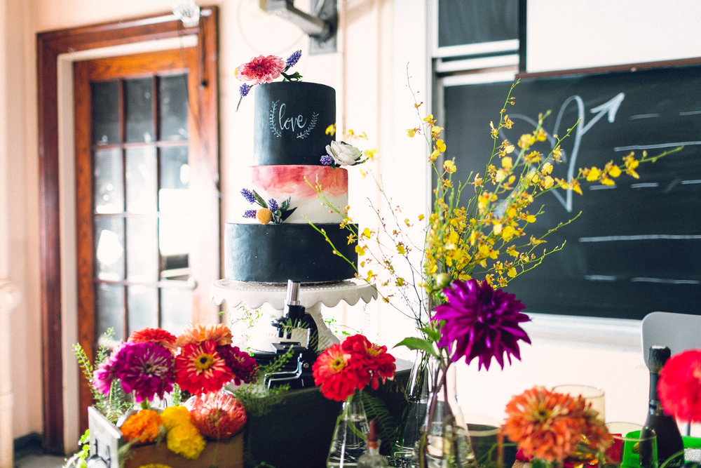 South Philly Wedding at Old School, Bok Building :: Heart & Dash :: Danfredo Photo + Film :: Chalkboard Cake from Nutmeg Cake Design