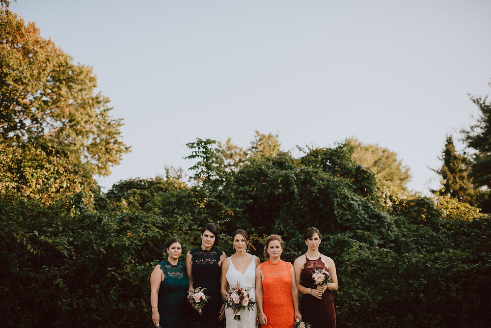 Bold jewel tone mix match bridesmaid dresses at a West Chester, Pennsylvania wedding at private estate :: wedding planner: Heart & Dash :: Pat Robinson Photography
