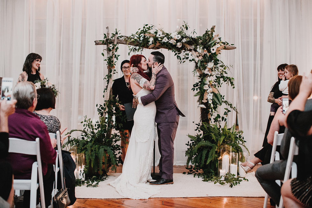 Power Plant wedding in Philadelphia for non-traditional tattooed couple