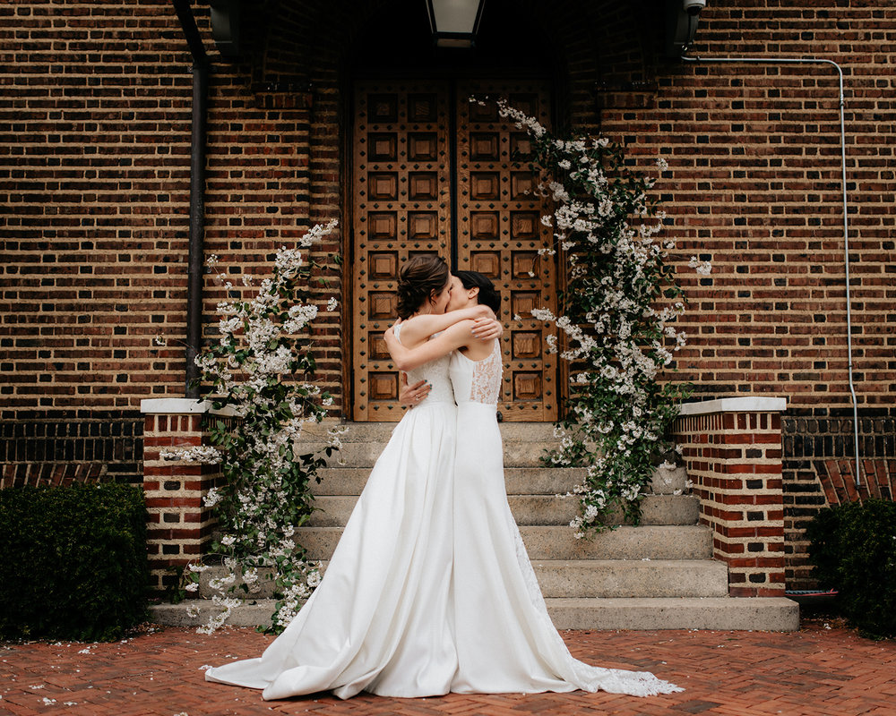 Spring wedding at Penn Museum with two brides and wedding planner Heart & Dash