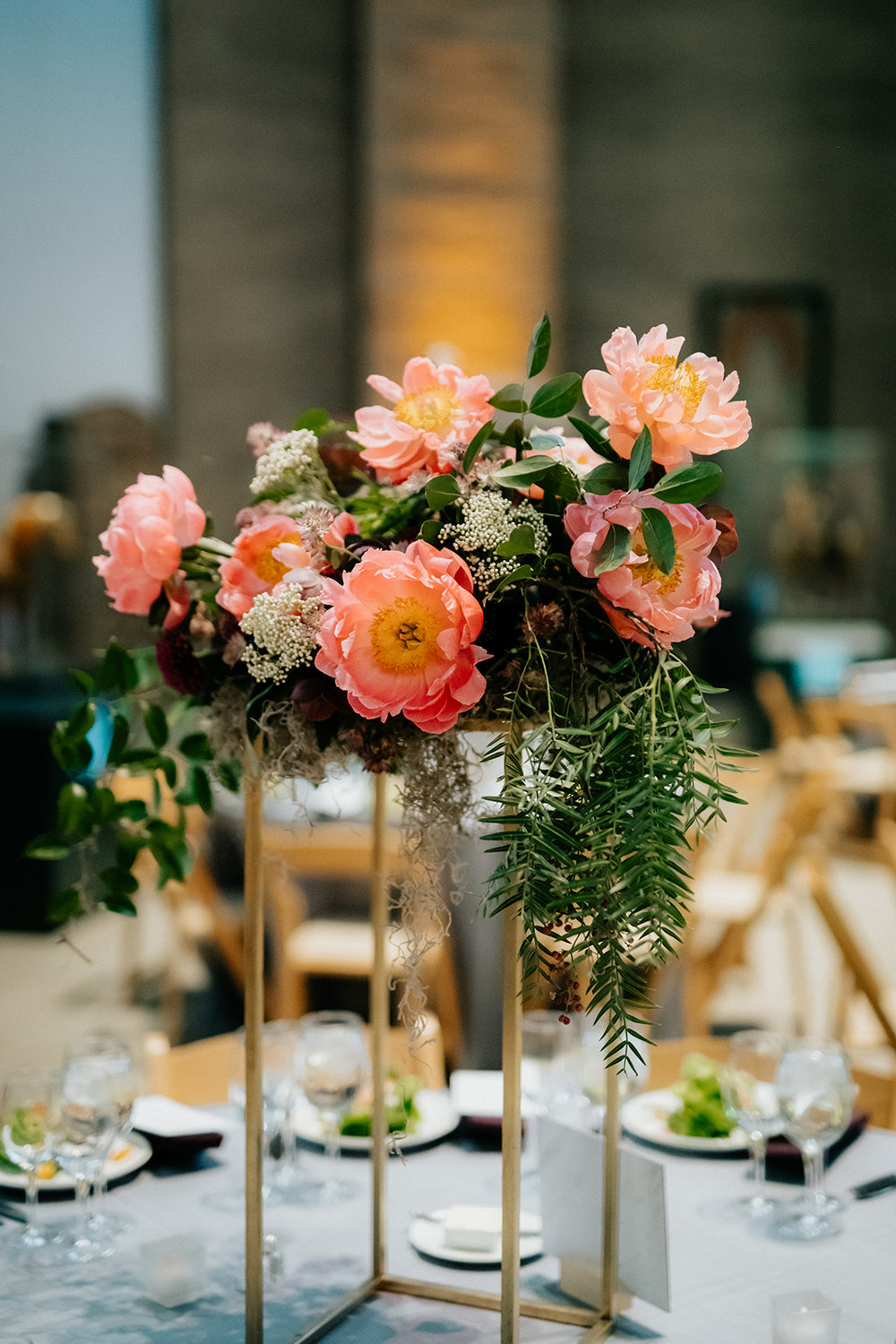 Penn Museum wedding lush organic floral centerpieces with northeast wedding planner Heart & Dash