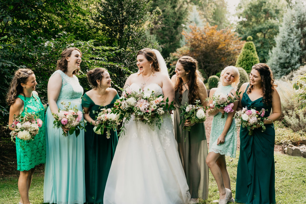 Wedding party with mixed bridesmaid dresses at private property wedding in Montgomery County with planner Heart & Dash