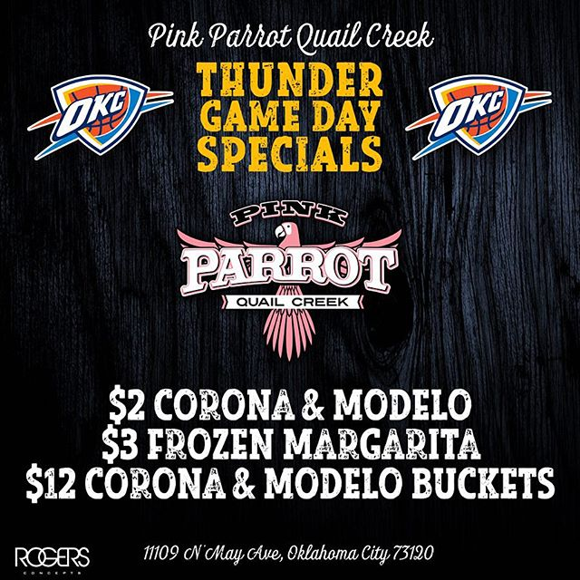 Thunder❤️🏀Gameday is BACK at your favorite watch party headquarters! Today we celebrate the kickoff of another #Thunderful season with👉🏻$2 Corona & Modelo, $3 Frozen Margarita, $12 Corona & Modelo Buckets! ✌🏻️🍻 Need more info on how to reserve your spot for the game?! Call us! 406.602.1771 #pinkparrotokc @pinkparrotokc