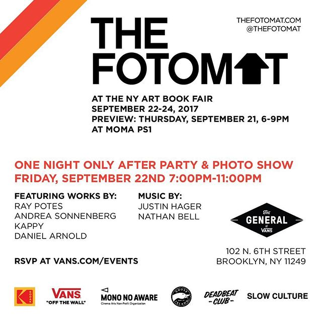 "In addition to The Fotomat popping up at NYABF, we will be hosting a one night only photo show @Vans new ""The General"" store in Brooklyn.  It's free and all you have to do is RSVP to link in bio to attend!  #thefotomatny"