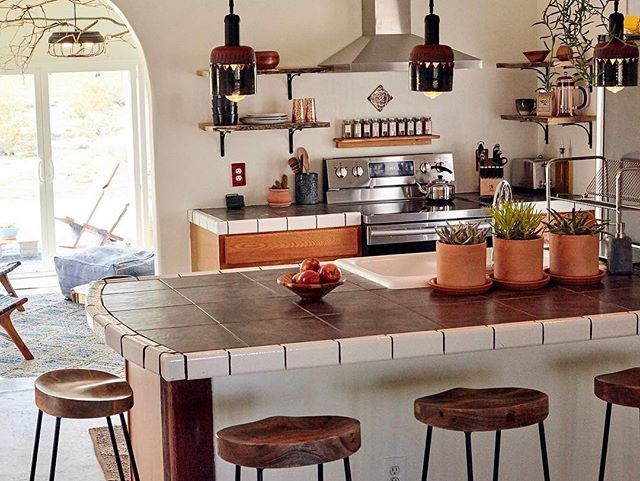 Urthen Pendant Lamps in Sagebrush hanging in the beautiful kitchen @creosote_house! Check out the @airbnb link in their profile to book your next stay at this wonderful rental in North Joshua Tree. Thank you again to hosts @odeyanini and Archie for commissioning these pieces. What an honor it is to leave my presence in the desert this way...🌵