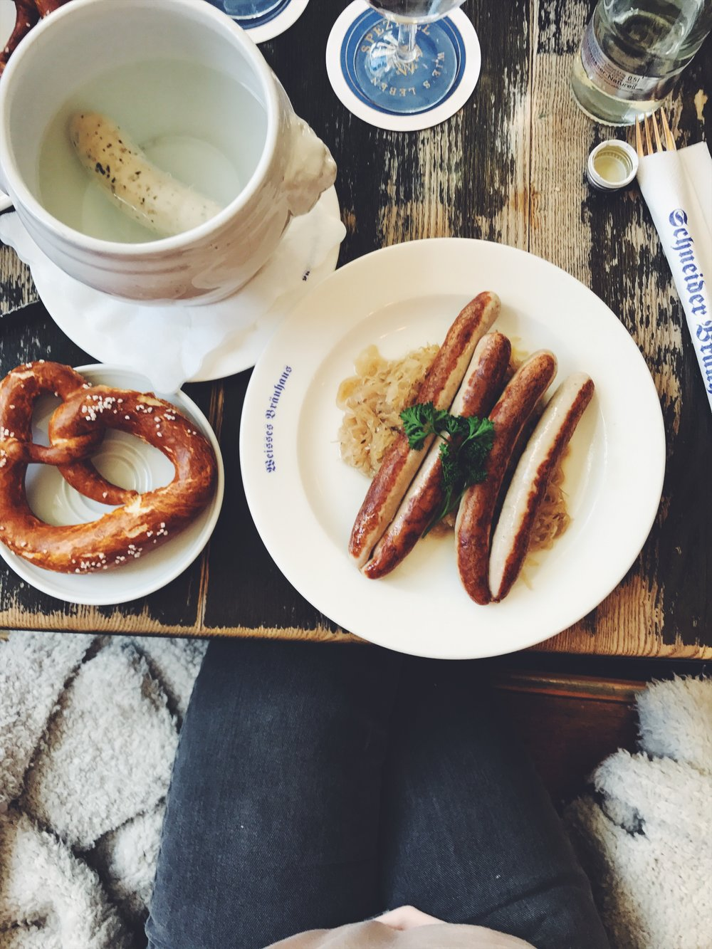 My 1st and only German breakfast. Bratwurst with sauerkraut and pretzels!