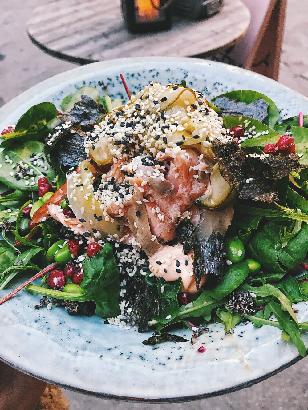 Salad with salmon, edamame, nori and lingonberries from Snickerbacken7
