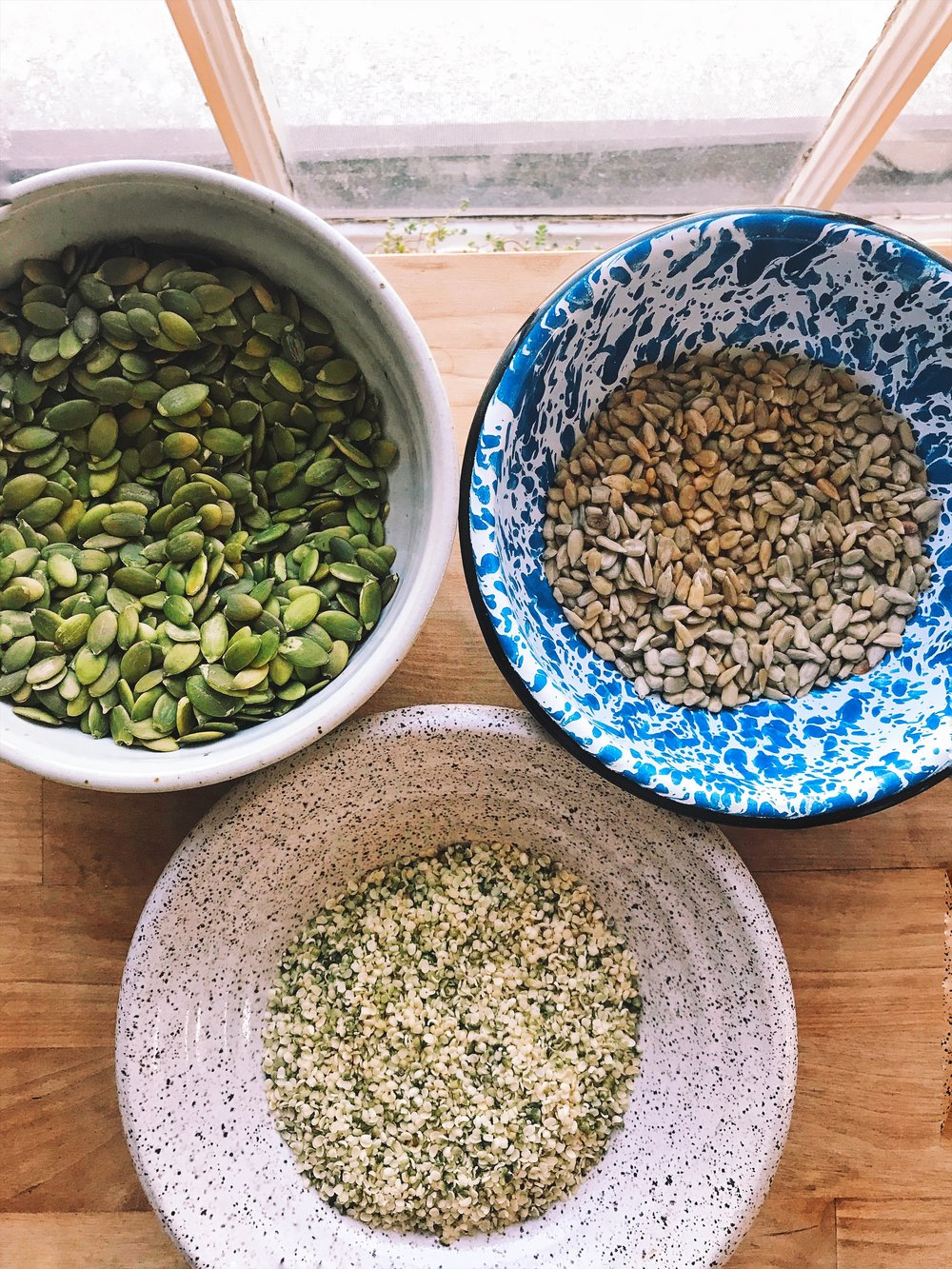 Pumpkin, sunflower, and hemp seeds make amazing nut milks without the straining step.