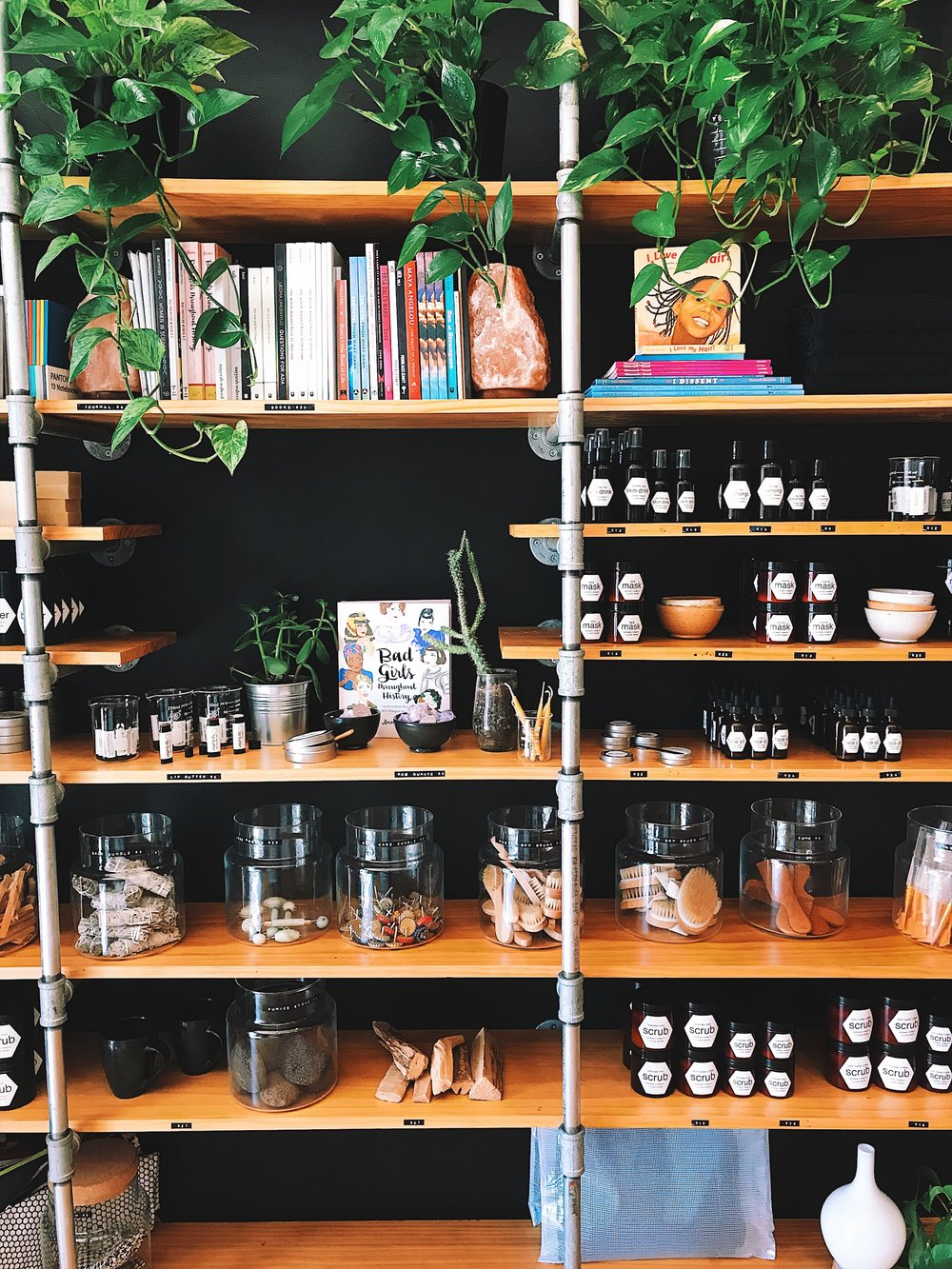 The self care goodies at Scratch Goods. Palo Santo, dry brushes, poetry, and foot scrubs. YAS.