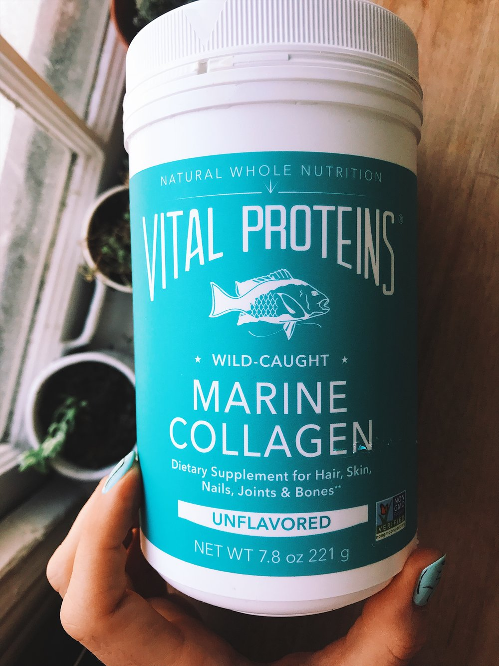 This is the marine collagen from Vital Proteins. I switch it up between the two types. And no, it does not have a fishy flavor for me.