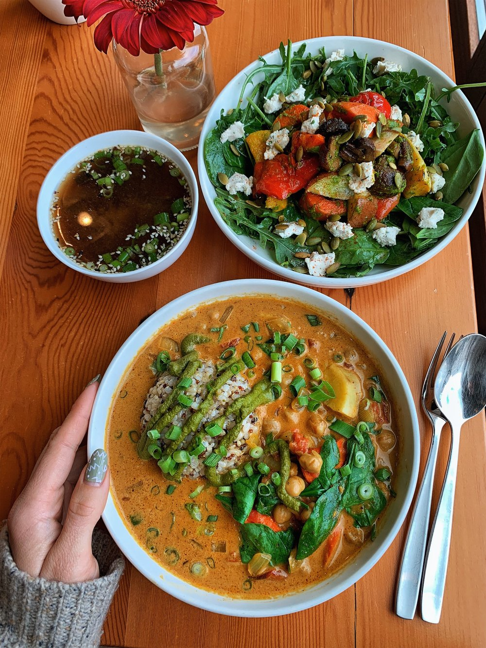 Yellow curry, roasted vegetable salad and mushroom broth at Root Whole Body, post massage