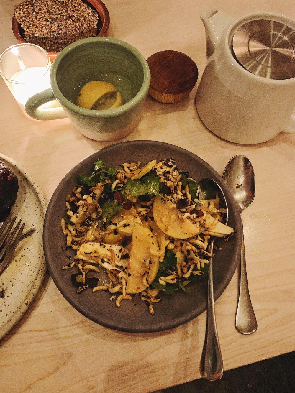 Puffed rice, mushroom and pear salad with herbs at Tusk