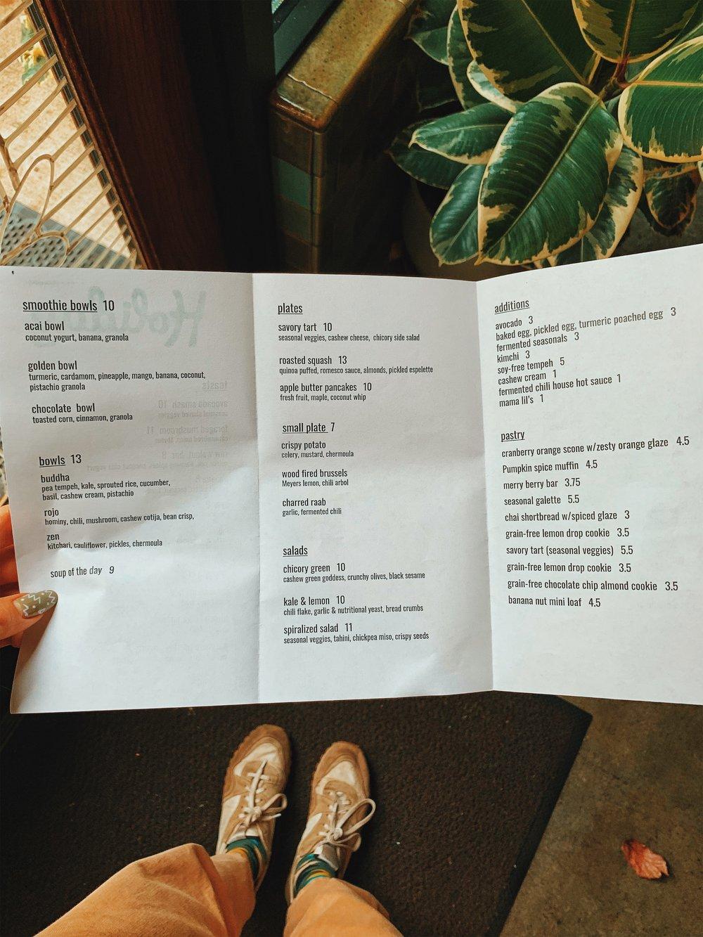 The menu at Holiday