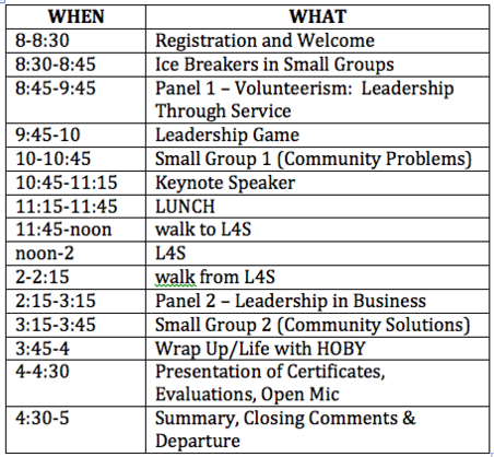 Las Cruces CLeW itinerary. Las Cruces HS, April 11, 2015, 8AM-5PM