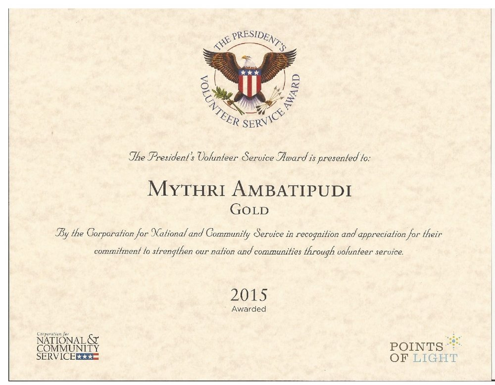 The President's Volunteer Service Award - In recognition of her work, on behalf of WoolyWarmth, Mythri was awarded a gold medal and a certificate from the President for the years 2014, 2015 and 2016.