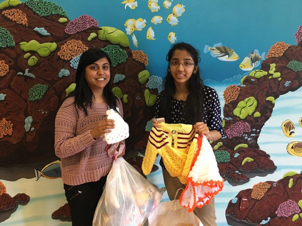 Mythri making a donation to Ms. Radha Dalal of Kaiser Permanente, Santa Clara