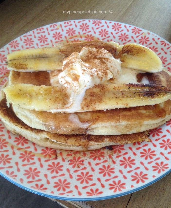 Banana pancakes with caramelised banana, male syrup and ice cream