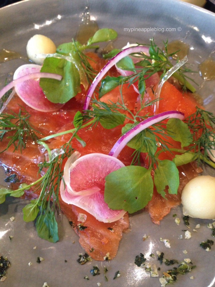 Lovers of salmon and gin rejoice with this salmon gravlax house cured in gin