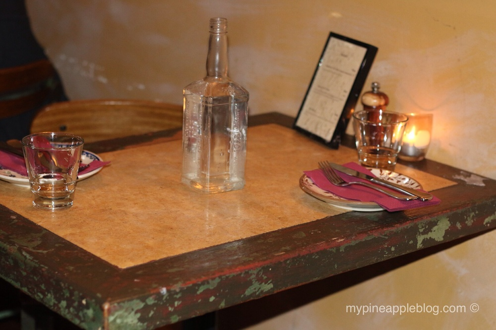 A cosy, rustic table for two