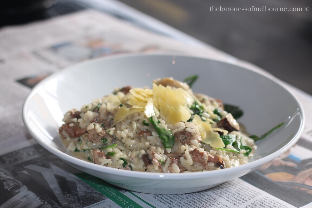 A bowl of duck and mushroom risotto happiness