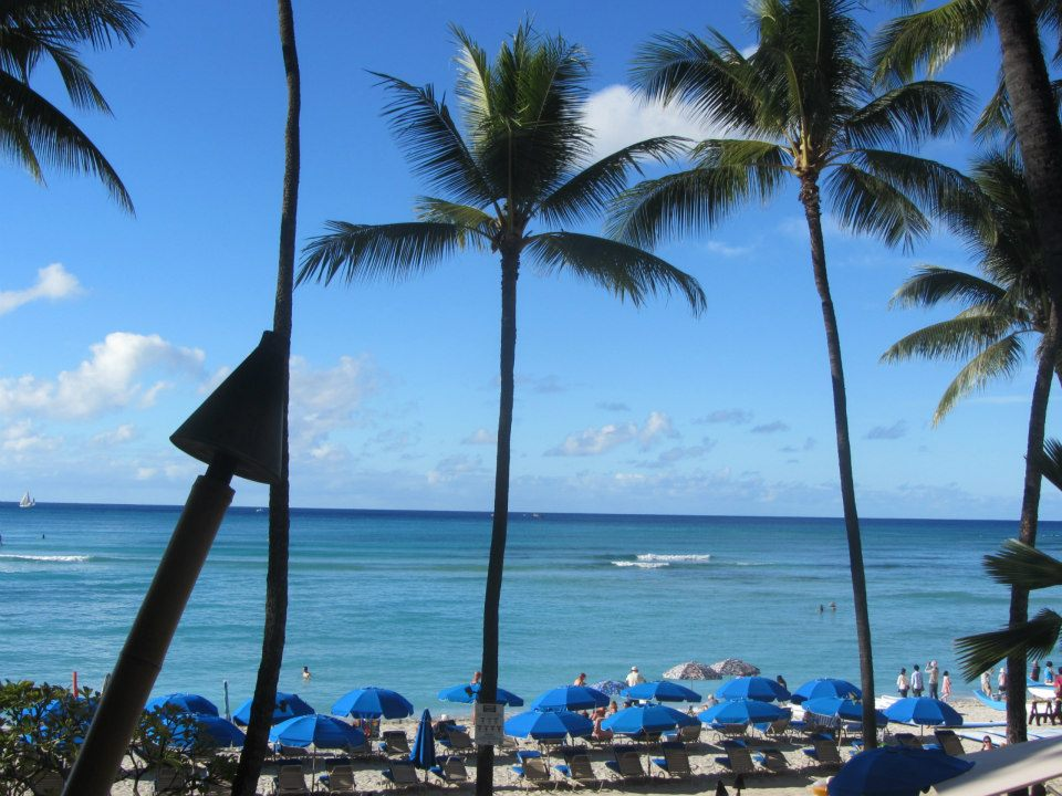 The view of beautiful Waikiki Beach from Dukes