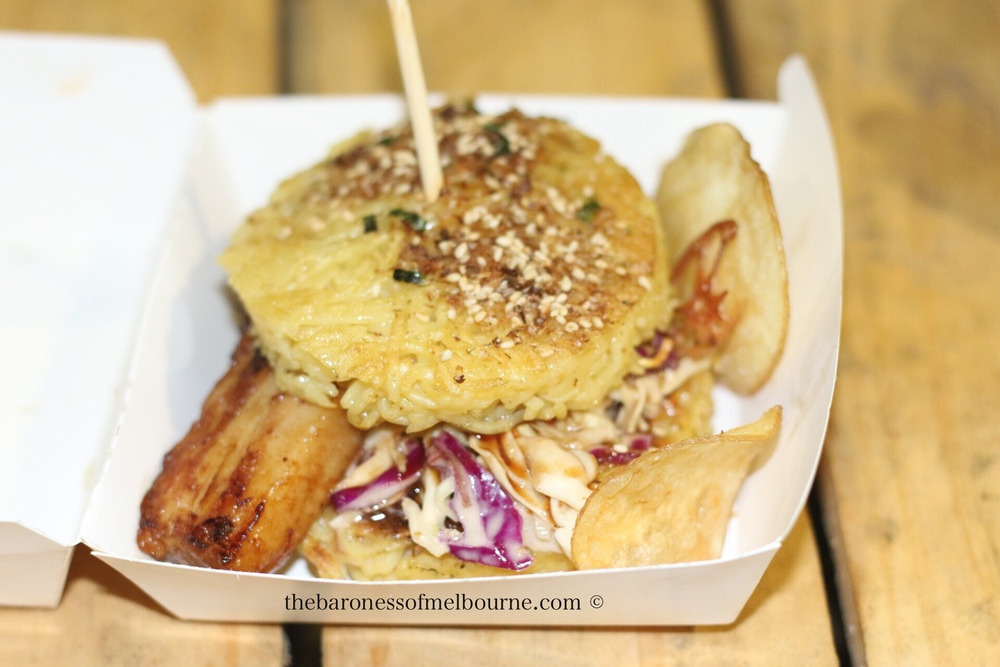 Pork belly ramen burger from Everybody Loves Ramen