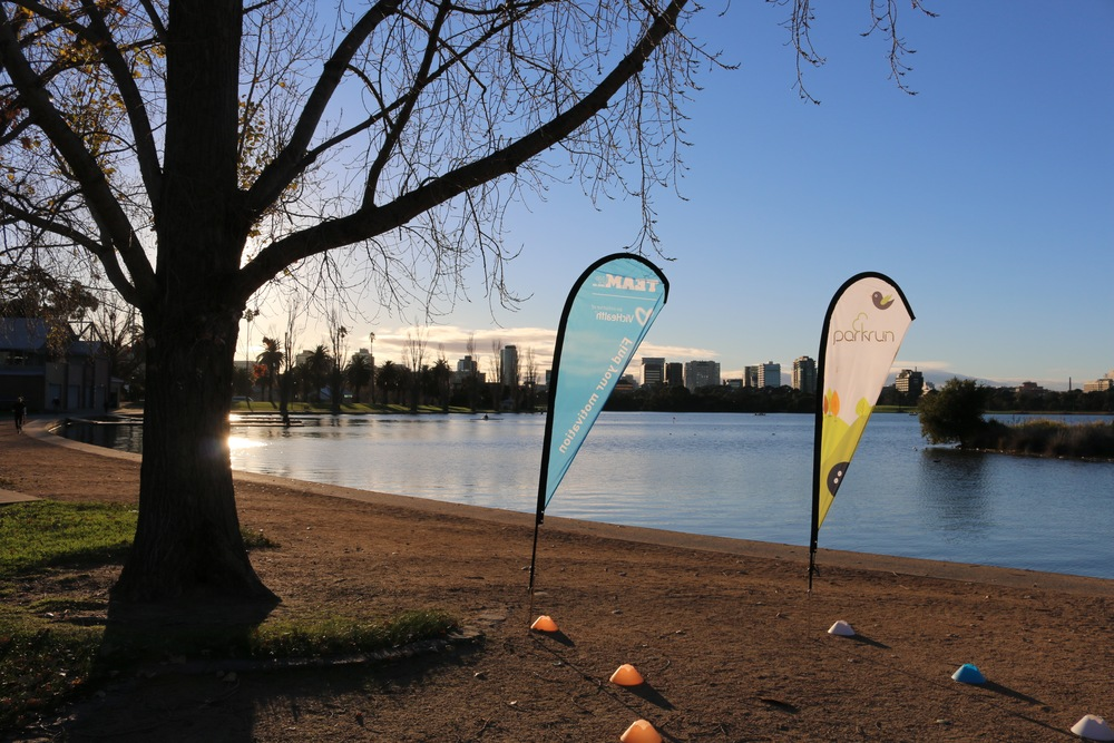 The wonderful site of the finish line at  Albert Melbourne parkrun