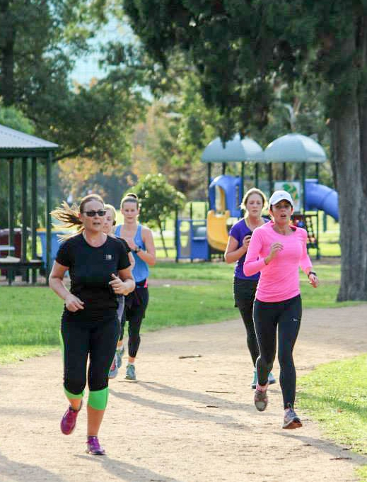 Julie and I powering home in the final km of Albert Melbourne parkrun