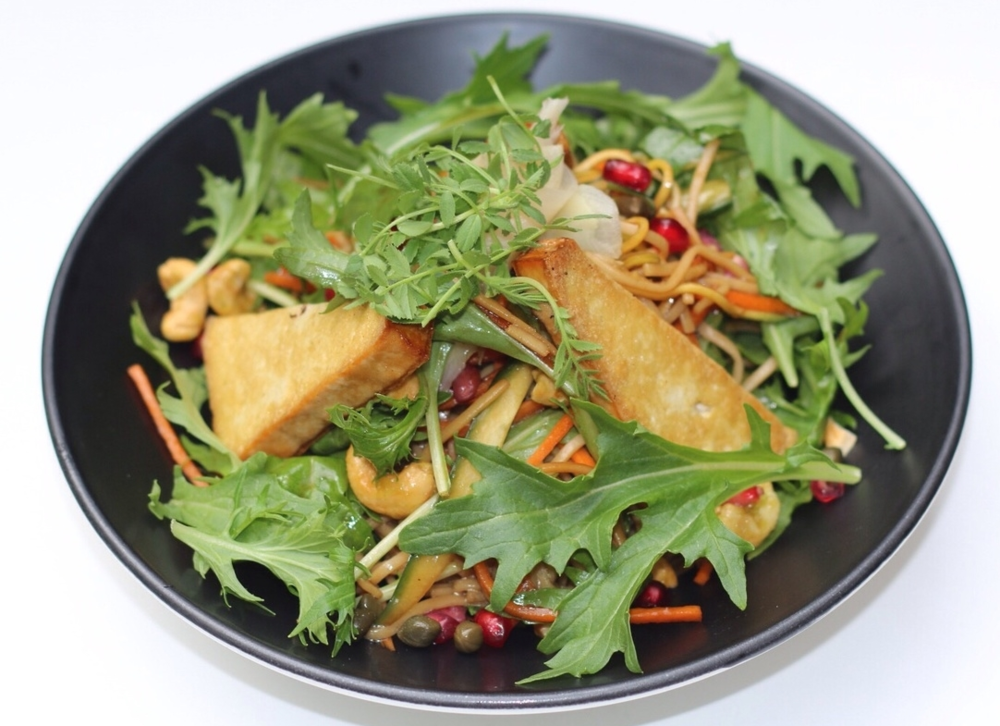 The tofu and noodle salad