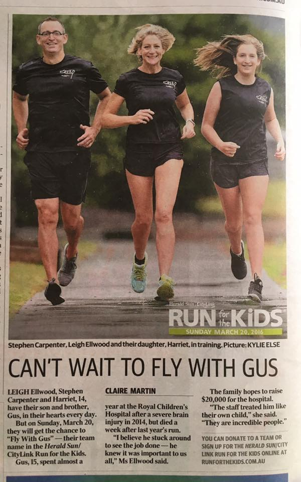 In 2016 I ran with the Fly with Gus team and we raised almost $30k for the hospital