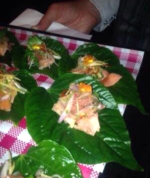 Ceviche on betel leaf