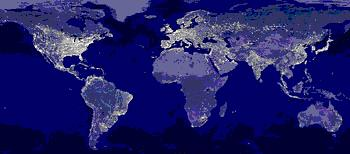 Earth's urban lights in 2001