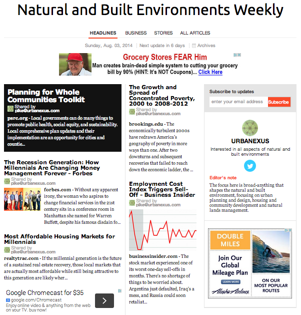 2014-08-03 - Natural and Built Evironments Weekly