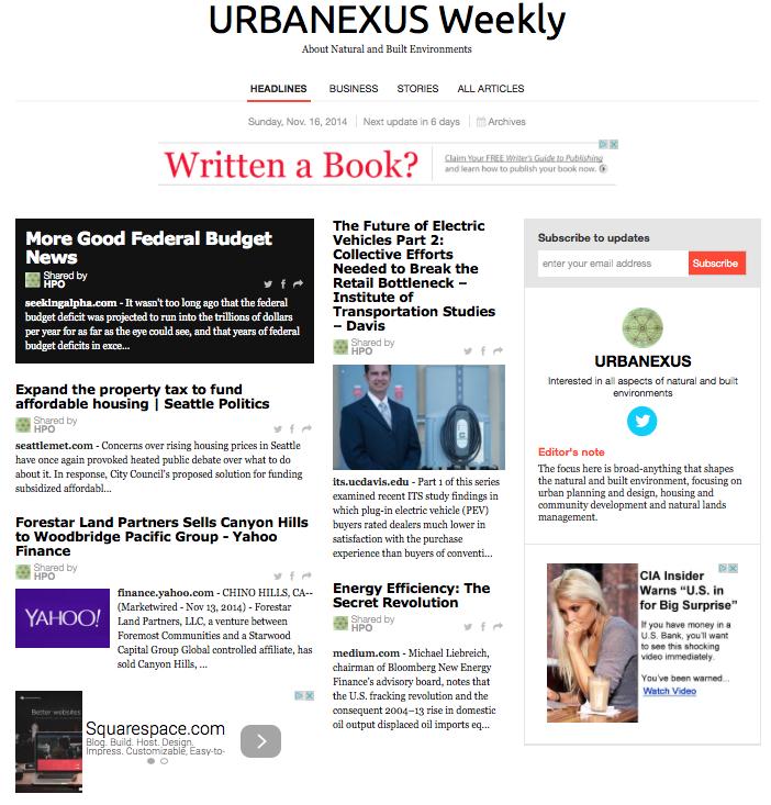 2014-11-16 - URBANEXUS Weekly