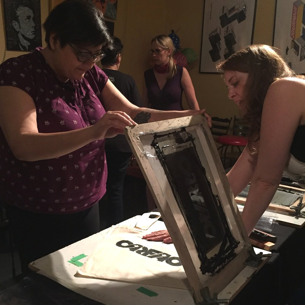 Live Silkscreening Experience - We bring our micro silkscreening studio to you and print (or coach people how to print) on the spot at your event. Participants will take home their own poster, t-shirt or tote bag featuring your artwork of choice. Live DJ music can complement the experience.
