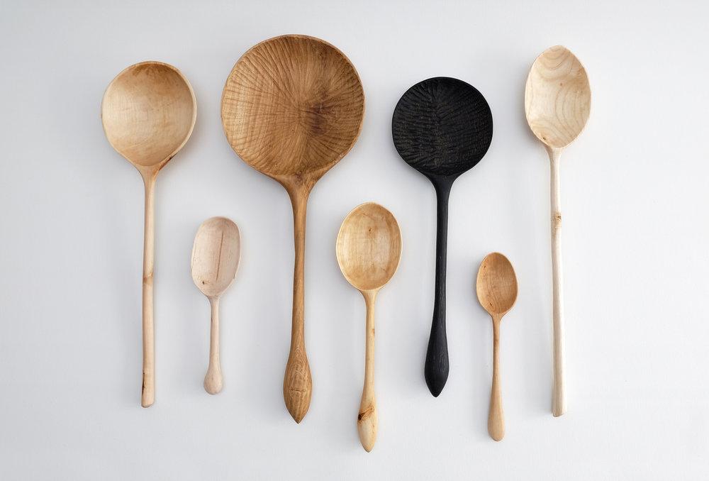 Hand Carved Spoons 2016 / native british hardwoods