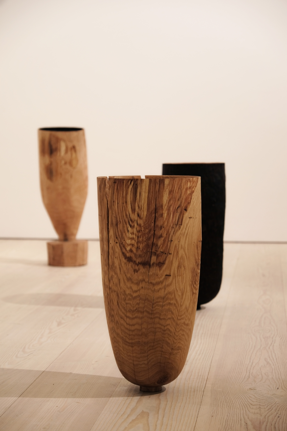 Hewn, Fallen, and Burnt Vessels  | green oak and sweet chestnut | 2018   Installation View, COLLECT, Saatchi Gallery, London